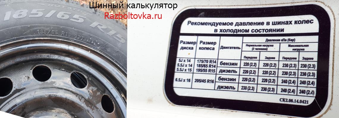Визуальный шинный калькулятор на Razboltovka.ru